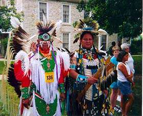 During Washunga Days, June 17-20-21, in Council Grove, Kaw Tribal members will present Kaw Culture Demonstrations at the Kaw Mission State Historic Site, which served as a school for Kaw youth in the 1800s, and now is a state-supported museum, shown in the background.