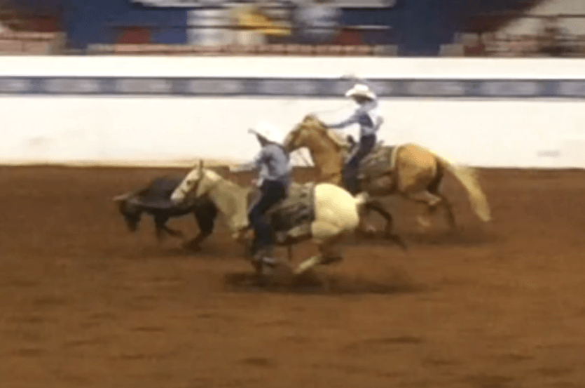 Reed Murray of Belvue rides Miss Kitty to head a steer in team roping at a Kansas High School Rodeo.