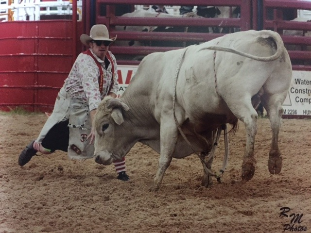 Big bad bulls are a feature of the Flint Hills Rodeo, and Daniel Dyson, Dayton, Texas, will be saving fallen cowboy riders from the mean bovine while entertaining spectators, June 2-3-4, at Strong City.