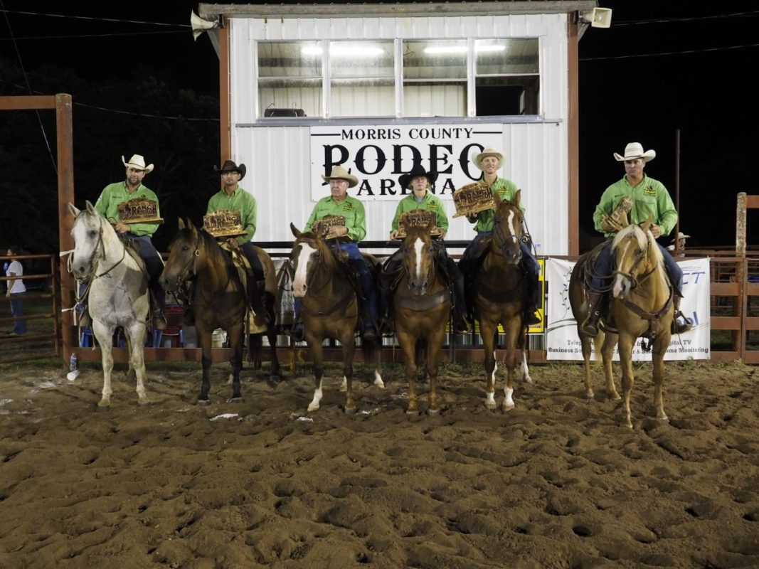 Lonesome Pine Ranch, Cedar Point, topped 16 teams to win championship honors at the Santa Fe Trail Ranch Rodeo in Council Grove. Shown are Travis Duncan, Chris Potter, Frank Higgs, Makenzie Higgs, Troy Higgs and Bud Higgs. (Photo by Bruce Hogle.)