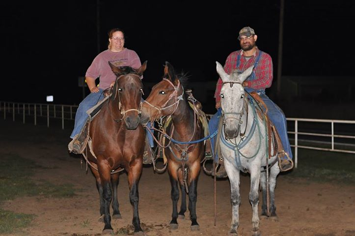 Deb and Tim Dillner are mounted, ready for the Fritz' Mule Fun Day, September 17, at Circleville,  as a fundraiser for the Fritz Dillner Memorial Shelter House at Banner Creek Reservoir near Holton in Jackson County.