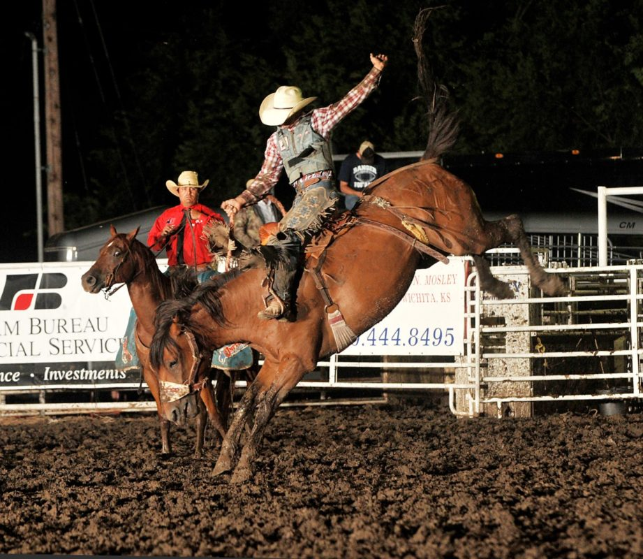 Shade Etbauer, Goodwell, Okla., was named the Eastern Kansas Pro Rodeo Series champion saddle bronc rider with a second place finish at Mound City and was first in the first go-round at Eureka, as well as competing at Coffeyville. (Dale Hirshman photo)