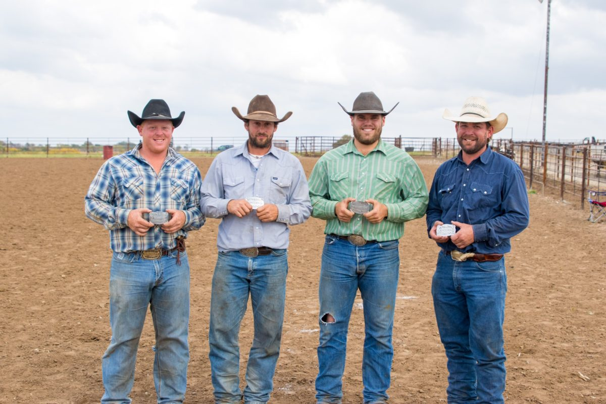 Eight Over Quarter Circle Ranch was represented by Kolby Boos, Josh Breeding, Derek Fields and Zack Parkin to win the recent Trey Allen Benefit Ranch Rodeo, at the JC Cattle Company Arena, south of Junction City
