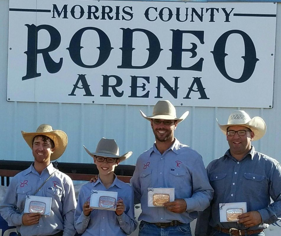 The Robbins/Keith Ranches team of Justin Keith, Pax Vogel, Adrian Vogel, and Clay Wilson won the Morris County Invitational Ranch Rodeo at Council Grove.