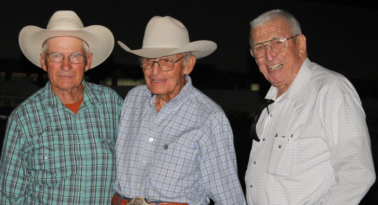 John Teagarden is with two of his granddaughters Riley and Sydney Eck at a 2010 horsemanship clinic with the then three-year-old Brickhouse Sandman raised by Teagarden Quarter Horses. The gelding was sold to Tammie Hoch, Great Bend barrel horse trainer, who won the Central Plains Rodeo Association Finals on him in 2015, and they were reserve champions this year.