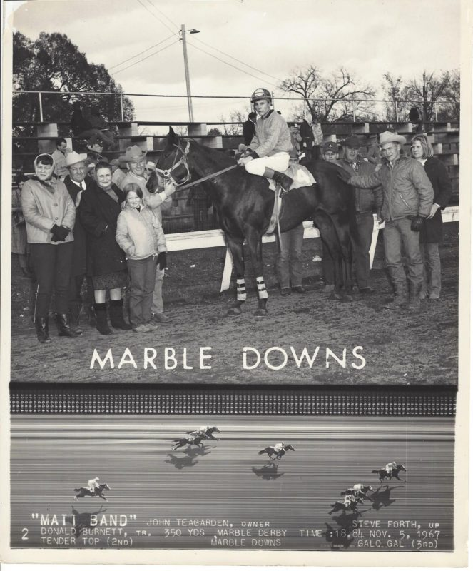 One of the early top horses owned by Teagarden Quarter Horses of LaCygne was Matt Band, shown after winning the Marble Derby at Carthage, Missouri, in 1967. Pictured with the champion are Meredith Burnett, Robert and Iva Teagarden, Denna Burnett, trainer Donald Burnett, Matt Band,  jockey Steve Forth, Floyd Camerer, owner John Teagarden, and Diane Burnett Janke. The Burnett and Teagarden families are cousins. John Teagarden acquired the south Texas bred colt as a yearling. Following his successful race career, Matt Band became a top all-around performance horse. Teagarden rode Matt Band to sort cattle, showed him in Western pleasure and reining classes and team roped on him, while his wife Candy rode Matt Band to win in barrel racing.
